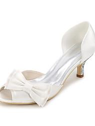 cheap -Women's Shoes Satin Spring / Summer Basic Pump Wedding Shoes Stiletto Heel Peep Toe Bowknot / Sparkling Glitter Blue / Champagne / Ivory