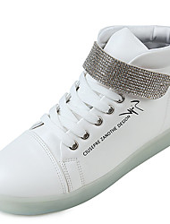 Women's Sneakers Spring Fall Winter Crib Shoes Ankle Strap Light Up Shoes Comfort PU Casual Athletic Flat Heel Magic Tape WhiteBasketball