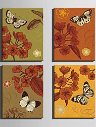 canvas Set Animal / Floral/Botânico Estilo Europeu,4 Painéis Tela Vertical Impressão artística wall Decor For Decoração para casa