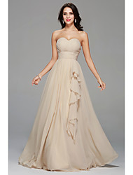 A-Line Sweetheart Floor Length Chiffon Bridesmaid Dress with Draping Side Draping by MYF