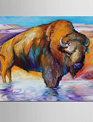 economico -decoro dipinto a mano astratto / animale, moderno / classico un quadro dipinto ad olio su tela