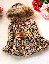 cheap -Girls' Daily Leopard Down & Cotton Padded,Cotton Winter Long Sleeve Animal Print Camel