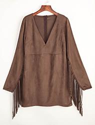 cheap -Women's Sheath Dress - Solid Colored Tassel