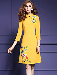 Women's Embroidery Going out Simple A Line Dress,Embroidered Peter Pan Collar Above Knee ¾ Sleeve Blue / Yellow Polyester Fall Mid Rise Micro-elastic