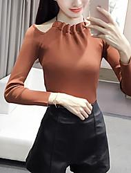preiswerte -Damen Standard Pullover-Ausgehen Lässig/Alltäglich Einfach Street Schick Solide Weiß Schwarz Braun Grau Halter Langarm PolyesterHerbst