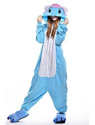 baratos -Adulto Pijamas Kigurumi Elefante Pijamas Macacão Ocasiões Especiais Velocino de Coral Azul Cosplay Para Pijamas Animais desenho animado Dia das Bruxas Festival / Celebração