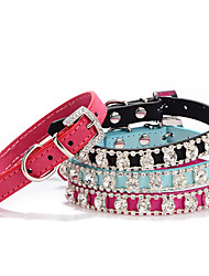cheap -Dog Collar Adjustable / Retractable Mosaic Rhinestone PU Leather Black Rose Red Blue