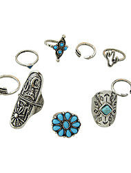 cheap -(9 Pcs One Set) Tibetan Style Silver Color Blue Beads Fingers Rings Set