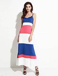 Mulheres Bainha Vestido,Casual Moda de Rua Listrado Com Alças Longo Sem Manga Azul Outros Verão