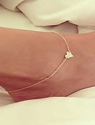 cheap -Anklet - Women's Silver Golden Love Handmade Fashion Simple Style European Alloy Anklet For Wedding