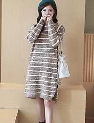 cheap -Women's Daily Going out Cute Sweater Dress,Striped Round Neck Midi Long Sleeves Cotton Fall Mid Rise Micro-elastic Medium