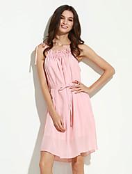 Women's Casual / Day Solid Fashion Ruffled Collar Chiffon Fashion Dress , Ruff Collar Above Knee Polyester