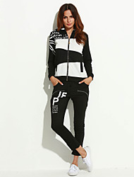 cheap -Women's Plus Size Hoodie Jacket - Color Block Letter, Patchwork