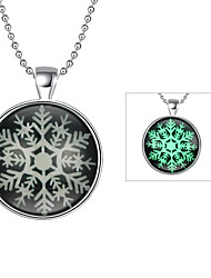 Women's Pendant Necklaces Snowflake Silver Plated Alloy Unique Design Dangling Style Illuminated Punk Personalized Hip-Hop Cute Style