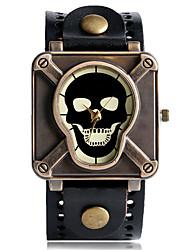 preiswerte -Herrn Sportuhr Modeuhr Einzigartige kreative Uhr Quartz Punk Leder Band Vintage Totenkopf camuflaje Cool Bequem Schwarz Blau Rot