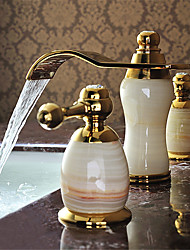Contemporary Widespread Waterfall Ceramic Valve Three Holes Two Handles Three Holes Ti-PVD , Bathroom Sink Faucet