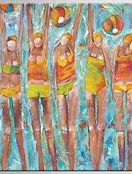 Dipinta a mano Astratto / Ritratti Dipinti ad olio,Modern / Classico Un Pannello Tela Hang-Dipinto ad olio For Decorazioni per la casa