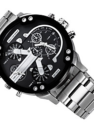 Men's Military Watch Dress Watch Fashion Watch Wrist watch Quartz Calendar Dual Time Zones Punk Alloy Band Charm Cool Casual Luxury Black