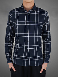 Men's Casual/Daily / Formal / Work Simple Fall Shirt,Striped Shirt Collar Long Sleeve Blue / White Cotton / Polyester Medium