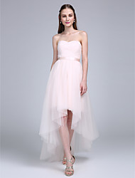 cheap -A-Line Sweetheart Neckline Asymmetrical Tulle Bridesmaid Dress with Sash / Ribbon / Criss Cross / Ruched by LAN TING BRIDE®
