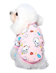 abordables -Chat Chien Tee-shirt Pyjamas Vêtements pour Chien Bande dessinée Jaune pêche Bleu Rose Bleu-Jaune Coton Costume Pour les animaux