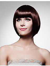 Elegant Office Ladies Wearing Wig Short Dark Brown with Full Bang Heat Resistant Synthetic Wigs Bobo Hairstyle Natural Looking