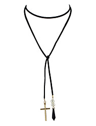 cheap -Gothic Style Black Long Chain Necklace with Cross Pendant