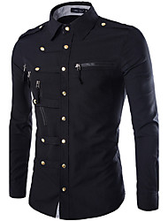 cheap -Men's Military Cotton Slim Shirt - Solid Colored Classic Collar