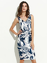 Women's Casual/Daily Simple Sheath Dress,Floral V Neck Knee-length Sleeveless Blue Cotton / Polyester Summer