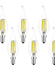 abordables -6pcs 7W 750 lm E14 Ampoules à Filament LED CA35 6 diodes électroluminescentes COB Blanc Chaud Blanc Froid AC 100-240 V