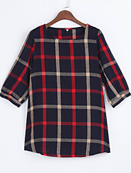 cheap -Women Ladies Blouse Plaid Print O Neck 3/4 Sleeve Plus Size Casual Loose Vintage Shirt Tops