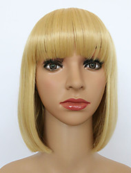 BOBO Style Hair with Full Bang Beauty Trendy Natural Straight Blonde Syntheitc Wig HEAT RESISTANT for Women