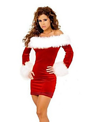 cheap -Santa Suit Mrs.Claus Cosplay Costume Women's Christmas Festival / Holiday Halloween Costumes Red Patchwork