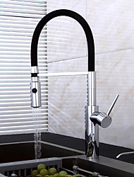 Contemporary Art Deco/Retro Modern Tall/­High Arc Pull-out/­Pull-down Standard Spout Vessel Pre Rinse Pullout Spray Rotatable Ceramic