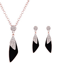 cheap -Women's Crystal Leaf Jewelry Set 1 Necklace 1 Pair of Earrings - Luxury Fashion Leaf Rose Gold Jewelry Set For Wedding Party Daily Casual