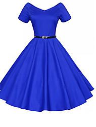 Feminino Bainha Vestido,Casual Sofisticado Sólido Decote V Altura dos Joelhos Manga Longa Azul / Vermelho / Preto PoliésterTodas as