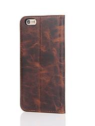 Für Kreditkartenfächer / mit Halterung Hülle Handyhülle für das ganze Handy Hülle Einheitliche Farbe Hart Echtes Leder für AppleiPhone 7