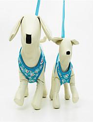 preiswerte -Hund Geschirre Regolabile / Einziehbar Weich Handgemacht Streifen Geometrisch Nylon Blau
