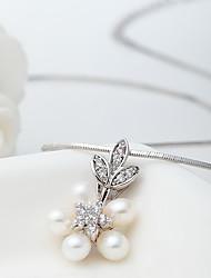 ieftine -Dame Coliere cu Pandativ Perle Zirconiu Cute Stil Euramerican Alb Bijuterii Nuntă Petrecere Halloween Zilnic Casual 1 buc