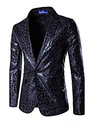 cheap -Men's Plus Size Slim Blazer - Leopard