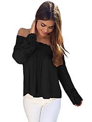 Women's Off The Shoulder Crochet Lace Long Sleeve Off Shoulder Top