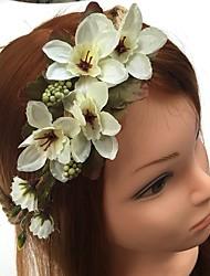 Недорогие -шифон льняные повязки цветы волосы галстук головной убор элегантный стиль