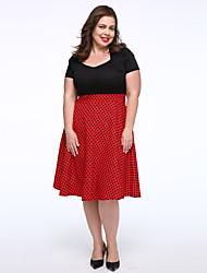 Swing Kleid-Party/Cocktail / Übergröße Retro Patchwork V-Ausschnitt Knielang Kurzarm Rot / Weiß Baumwolle Frühling Mittlere Hüfthöhe