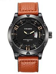 baratos -CAGARNY Homens Relógio de Moda / Relógio de Pulso Calendário / Legal Couro Banda Vintage / Casual Preta / Marrom / Cáqui