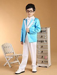 cheap -Ocean Blue Cotton Ring Bearer Suit - Six-piece Suit Includes  Jacket Pants Vest Waist cummerbund Bow Tie Shirt