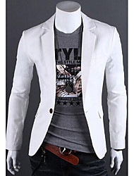cheap -Men's Daily Work Simple Casual Spring Fall Solid Notch Lapel Long Sleeve Regular Linen