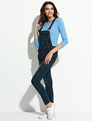 economico -Da donna Casual Media elasticità Jeans Tuta da lavoro Pantaloni,Tinta unita Cotone Per tutte le stagioni