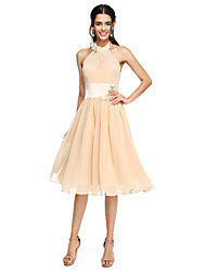 cheap -A-Line High Neck Knee Length Chiffon Bridesmaid Dress with Sash / Ribbon / Flower / Pleats by LAN TING BRIDE® / Beautiful Back
