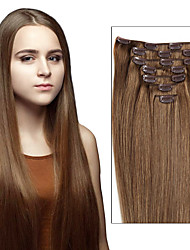 Недорогие -Febay На клипсе Расширения человеческих волос Прямой Remy Натуральные волосы Бразильские волосы Medium Brown / Bleach Blonde Черный / Bleach Blonde Golden Brown / Bleach Blonde