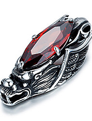 cheap -Men's Punk Style Pendant Charm Necklace 316L Stainless Steel Retro Carving Dragon Shape Zircon Jewelry